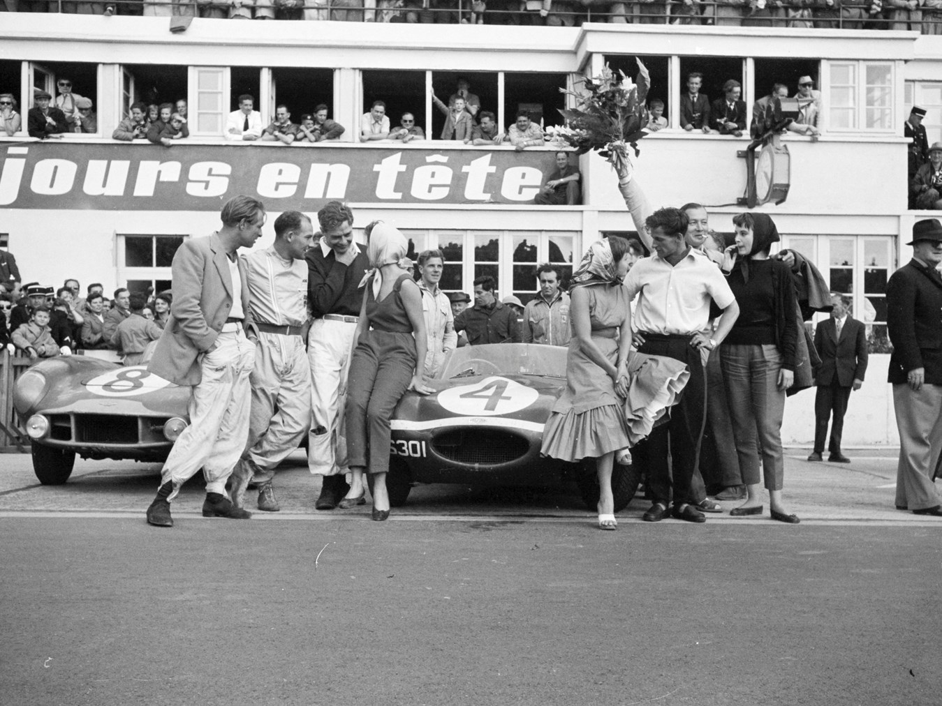 At the end of the 1956 Le Mans the Ecurie Ecosse team Jaguar D Type driven by Ninian Sanderson and Ron Flockhart was victorious and the Aston Martin DB3 S of Stirling Moss and Peter Collins came second. (Picture courtesy the Revs Institute for Automotive Research).