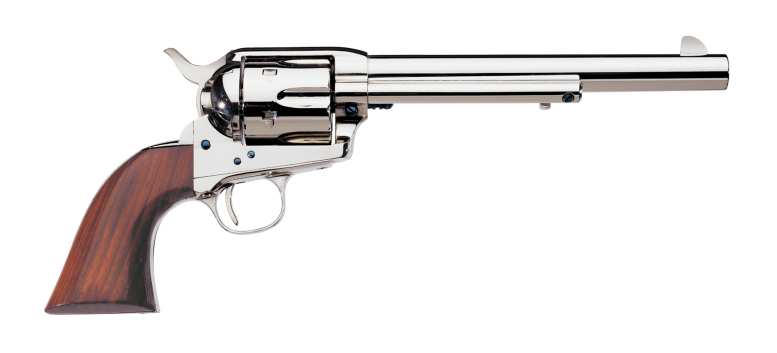The Cattleman Nickel is a new model revolver and is finished in nickel plated steel. (Picture courtesy Uberti).