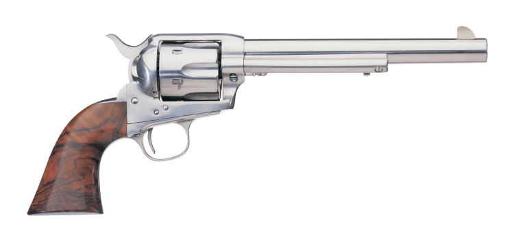 The Cattleman Stainless is, as the name says, a stainless steel revolver. (Picture courtesy Uberti).
