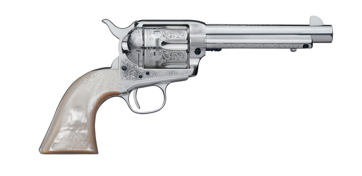 The engraved Cattleman is made of stainless steel. (Picture courtesy Uberti).