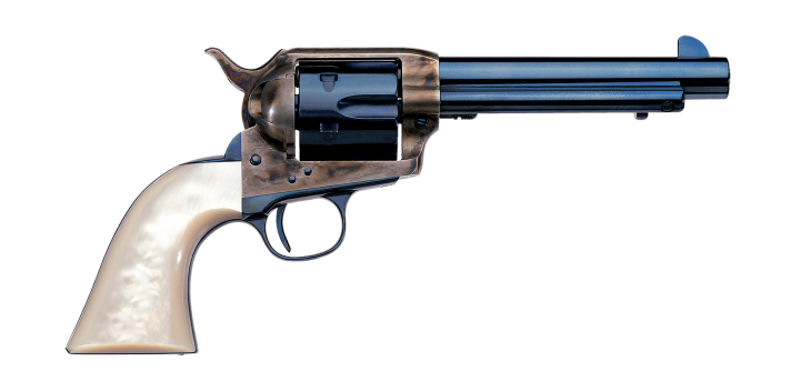 The Frisco features a color case hardened frame, charcoal blue finish and faux ivory grips. (Picture courtesy Uberti).