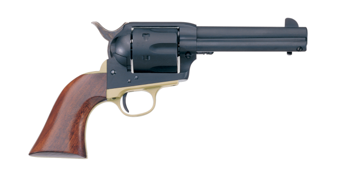 The Hombre has a brass trigger guard, and matte finished stainless steel frame and barrel. (Picture courtesy Uberti).