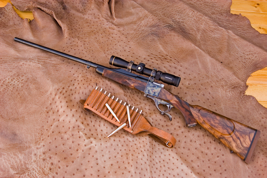 A Soroka Farquharson set up for mountain hunting with medium-heavy barrel, chambered for the .300H&H Magnum.