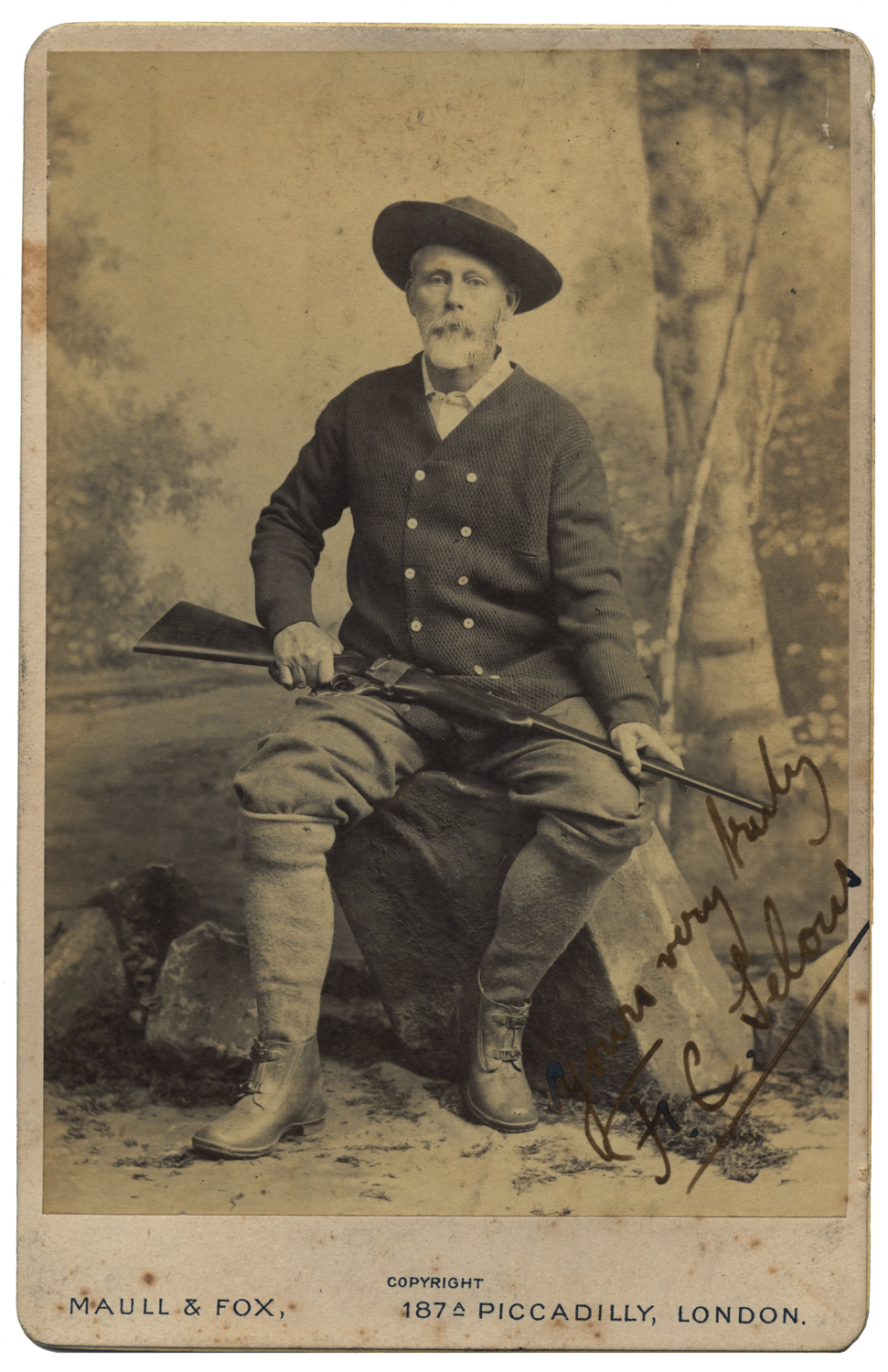 Frederick Courtenay Selous with his Westley-Richards made Farquharson rifle. (Picture courtesy theexplorer.com).