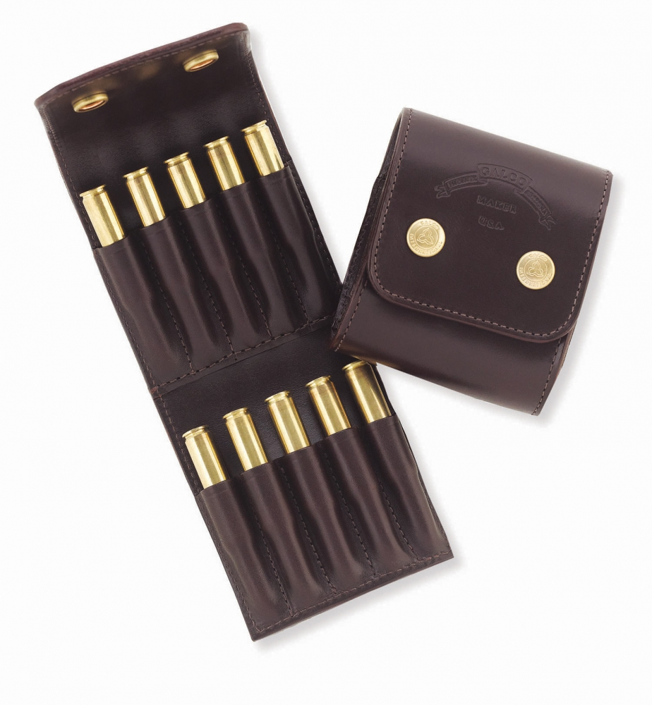 The Galco Stalker holds ten rifle cartridges in a compact fold up wallet. (Picture courtesy Galco).