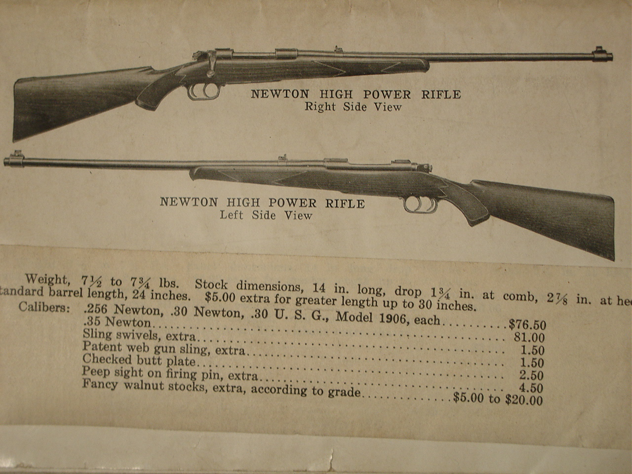 Original advertisement for Newton rifles. (Picture courtesy iroquoisarmscollectors.org).