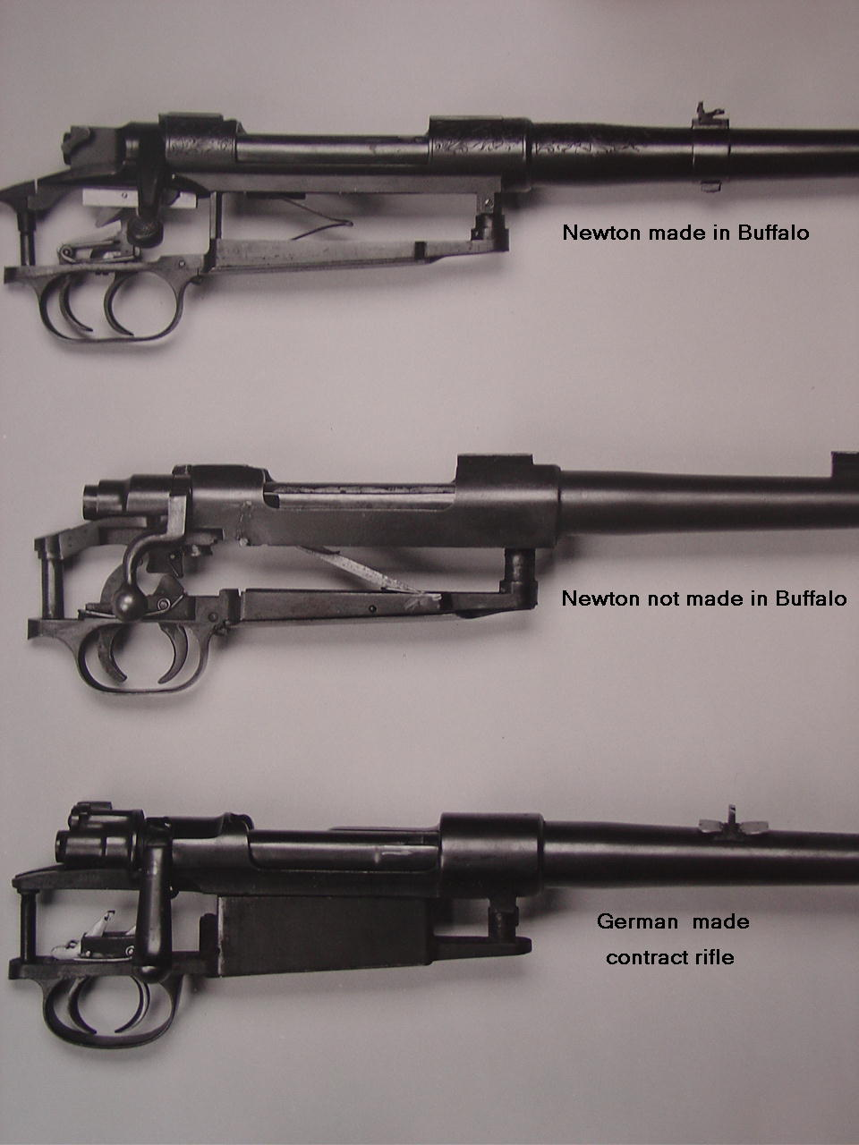 The top rifle is a Newton design and made at his Buffalo works. The centre rifle is a Newton design but not made at the Buffalo works. The bottom rifle is a Newton rifle made on a commercial Mauser 98 action. (Picture courtesy iroquoisarmscollectors.org).