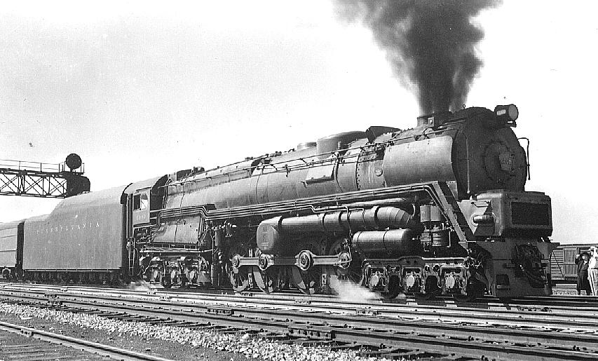 "When it first entered service the S2 did not have smoke deflectors to push the smoke from the quad smoke stack up out of the driver's line of sight. Initially small smoke deflectors were fitted as seen in this picture. They proved to be insufficient so large ""elephant ears"" were fitted. (Picture courtesy thefairchilds.org)."