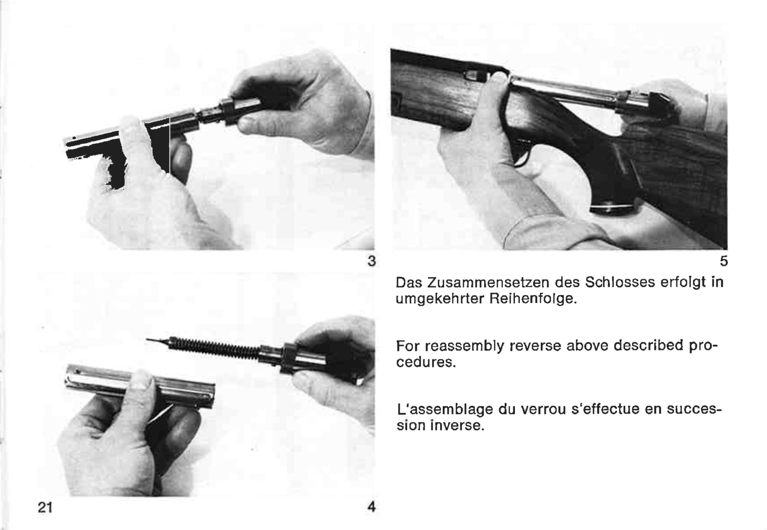 This picture from the Mauser 77 owners manual shows that the locking lugs are part of the bolt handle assembly, separate from the bolt body. (Picture courtesy Mauser).