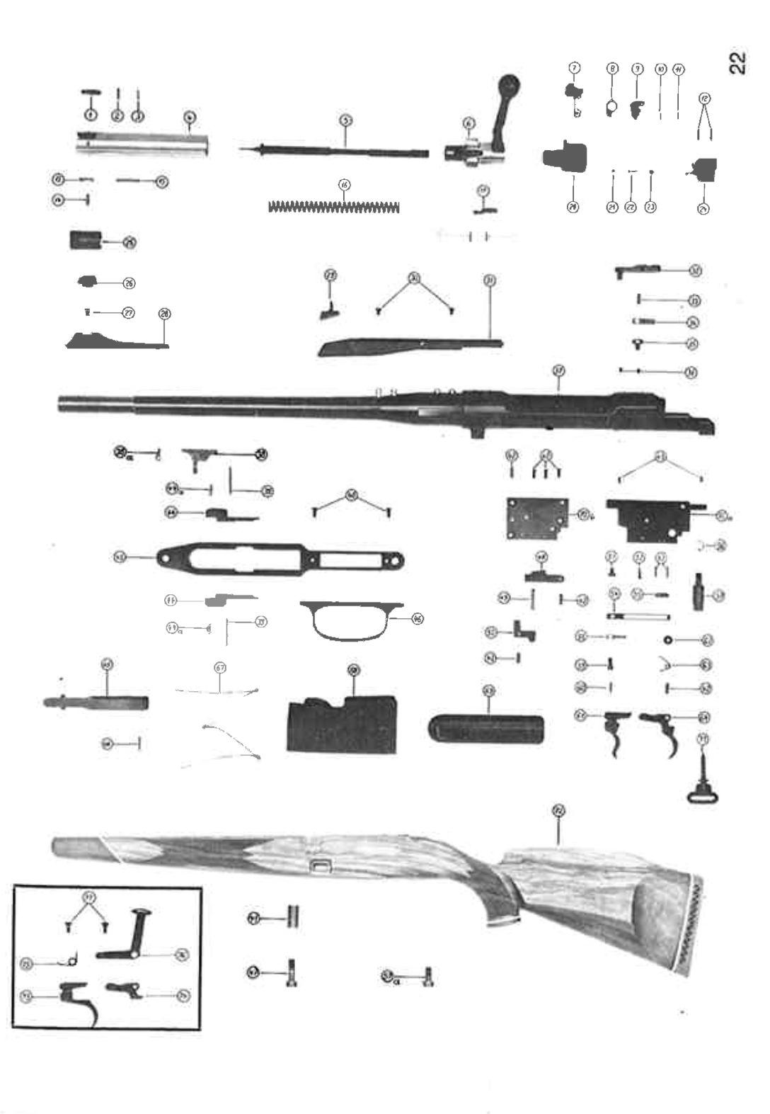 Exploded diagram of the Mauser 77. As can be seen there was a conventional double set trigger option in addition to the single set trigger as seen in the rifles in our pictures. (Picture courtesy Mauser).