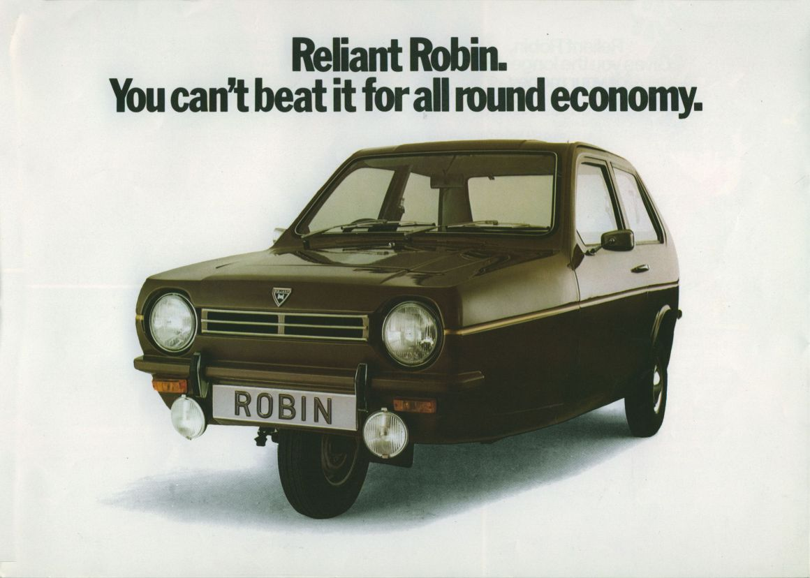 The closest thing to a motorcycle Ogle Design Limited had designed was the Reliant Robin. (Picture courtesy tocmp.org).