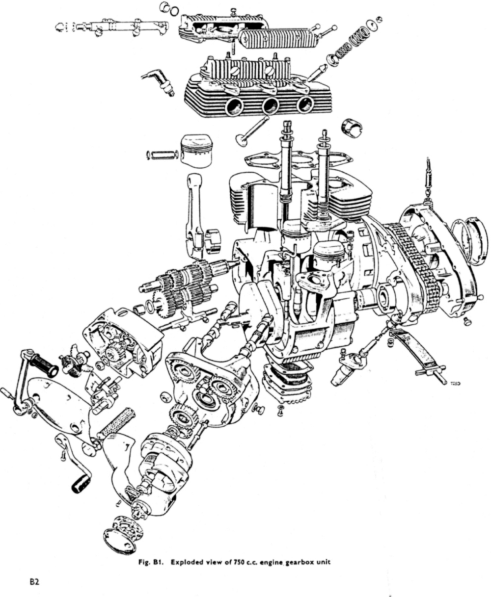 Exploded diagram of the Triumph Trident engine and gearbox. (Picture courtesy vintagetriples.fr).