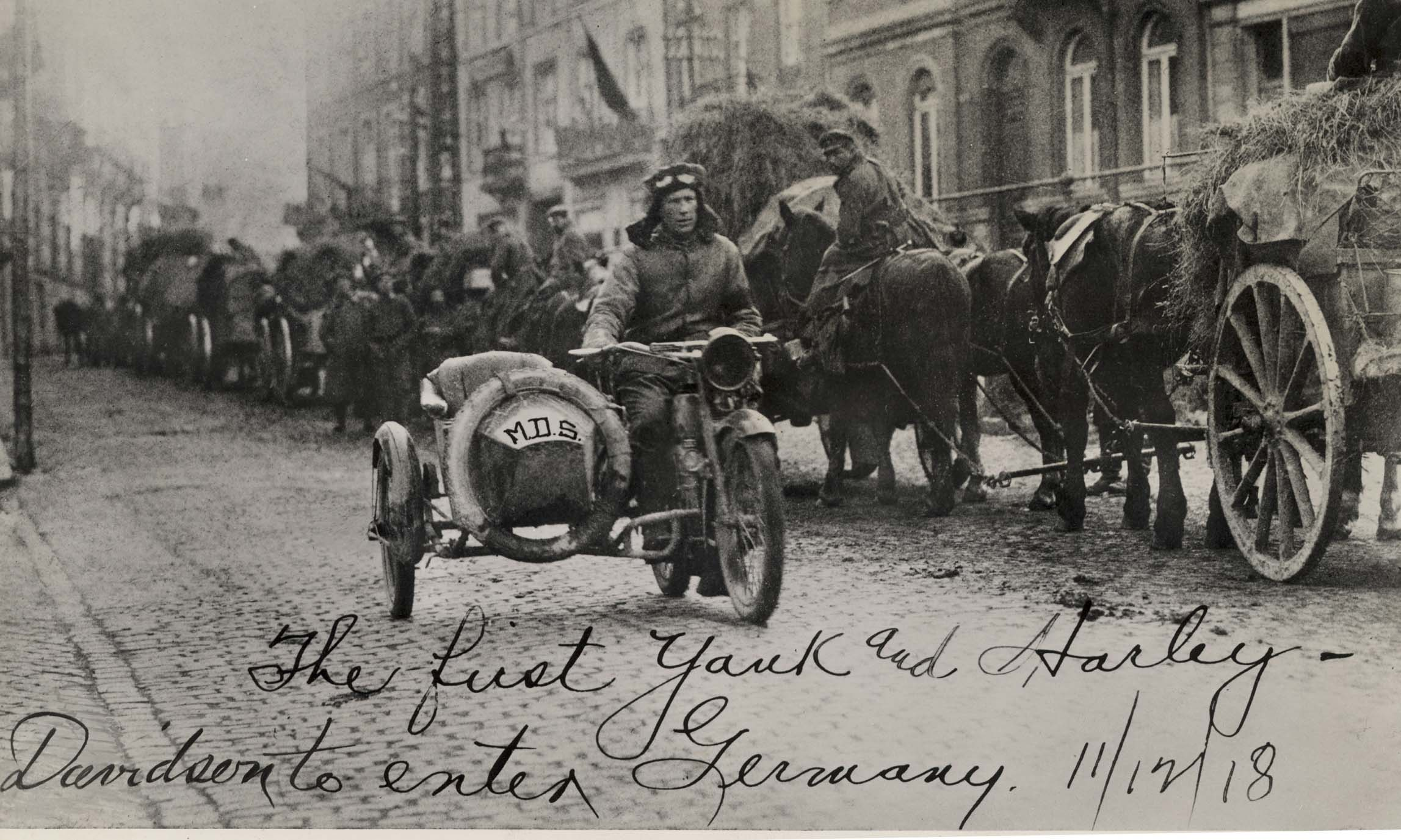 Harley-Davidson's went to war in 1917 with the US Army. This picture is of the first Harley-Davidson to enter Germany during that conflict. (Picture courtesy visordown.com).
