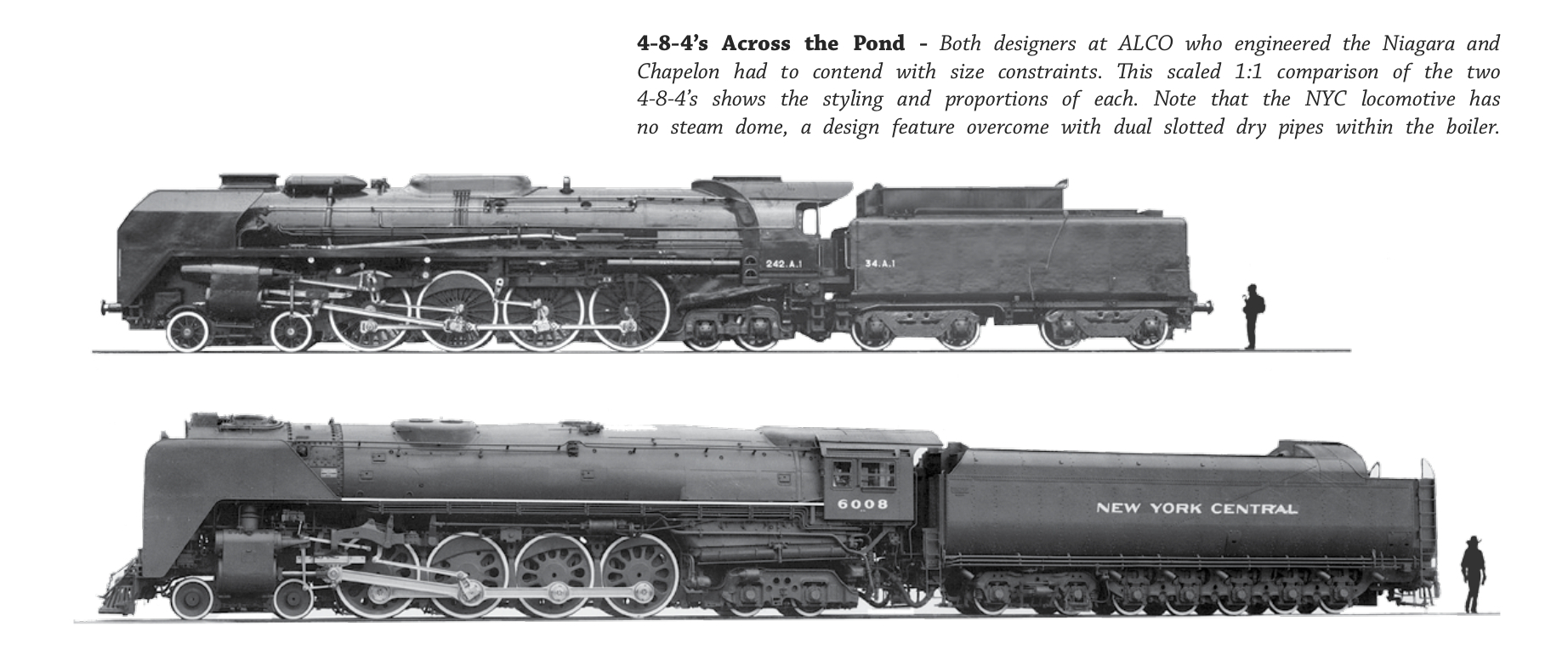 Paul Keifer was the only American designer to incorporate some of André Chapelon's ideas into his design of the New York Central's S1 Niagara. This photo compares the S1 Niagara with André Chapelon's last locomotive the 242A1. (Picture courtesy Coalition for Sustainable Steam).