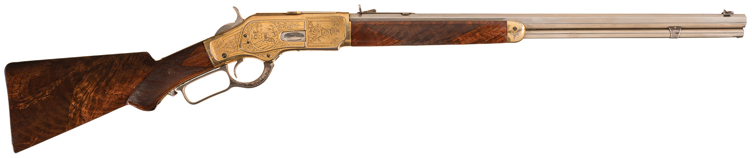 The Winchester 1886 engraved and signed by John Ulrich that William Cody presented to Robbie Campbell Adams in 1883 that is coming up for auction by Rock Island Auction Company over 9th-11th September 2016.