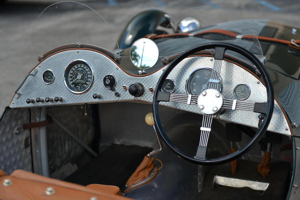 Note the priority placement of the instrumentation. The tachometer, temperature and oil pressure gauges are immediately in the driver's line of sight with the fuel gauge off to the side. The speedometer is on the passenger side so they know just how scared they should feel.
