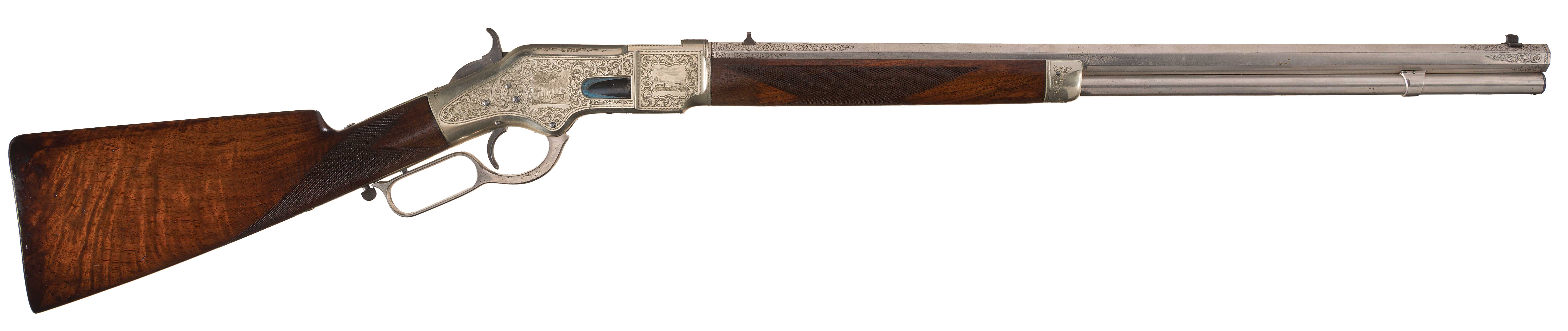 This is a high resolution image of the right side of this 1866 Winchester rifle.