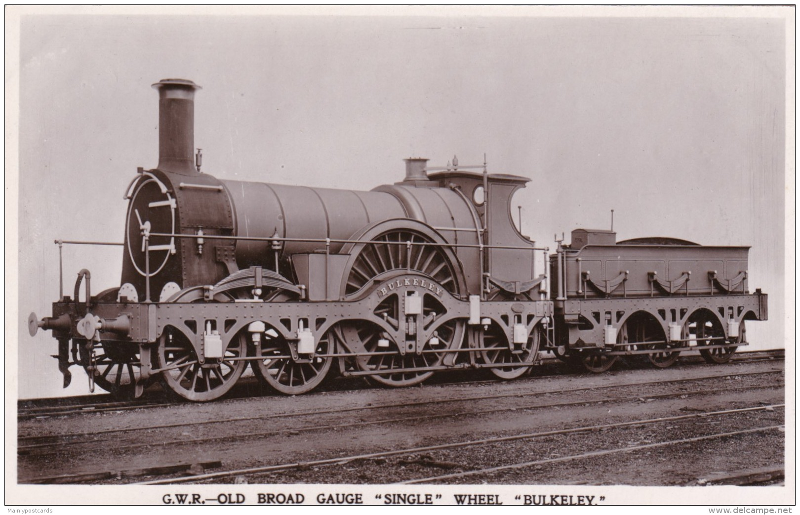 "Period photo of the ""Bulkeley"" broad gauge locomotive which was in service from 1880-1892. This locomotive worked the last ever broad gauge passenger trains on Friday, 20th May and Saturday 21st May 1892. (Picture courtesy delcampe-static.net)."