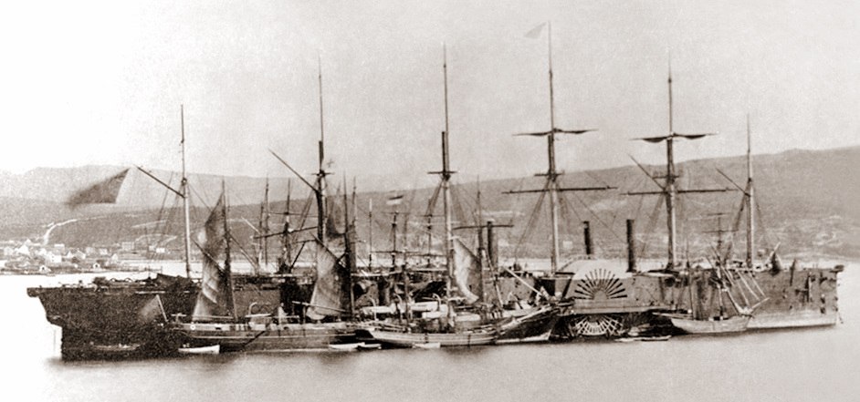 Brunel's steam ship the Great Eastern in 1866. (Picture courtesy Wikipedia).