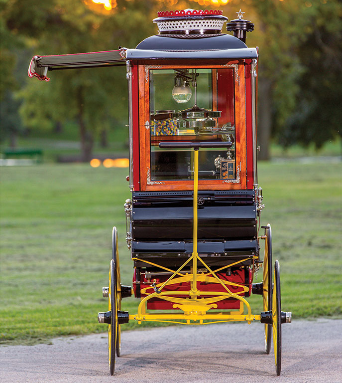 This vending wagon is slim and portable.