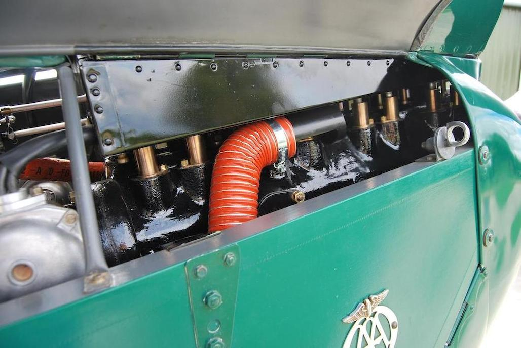 The De Havilland engine is mounted inverted in the airframe.