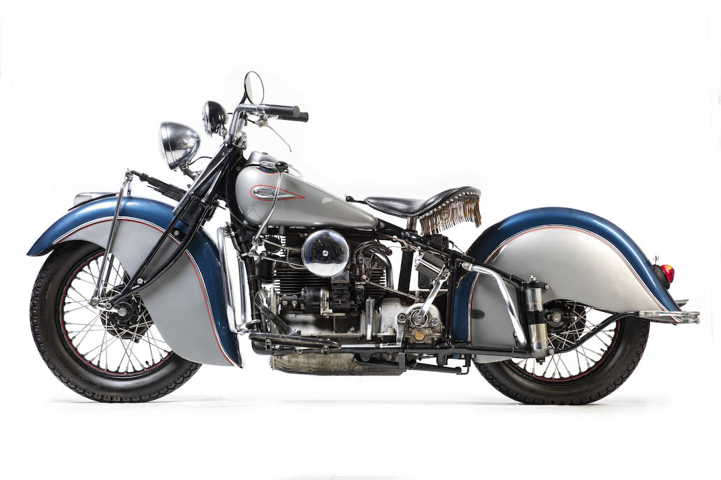 This 1940 example of the Indian four cylinder has the preferred inlet over exhaust engine.