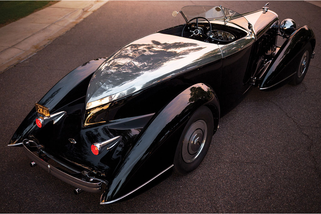 Although built on an original Lincoln KA this boat-tail speedster has had its bodywork style created in the 1990's.