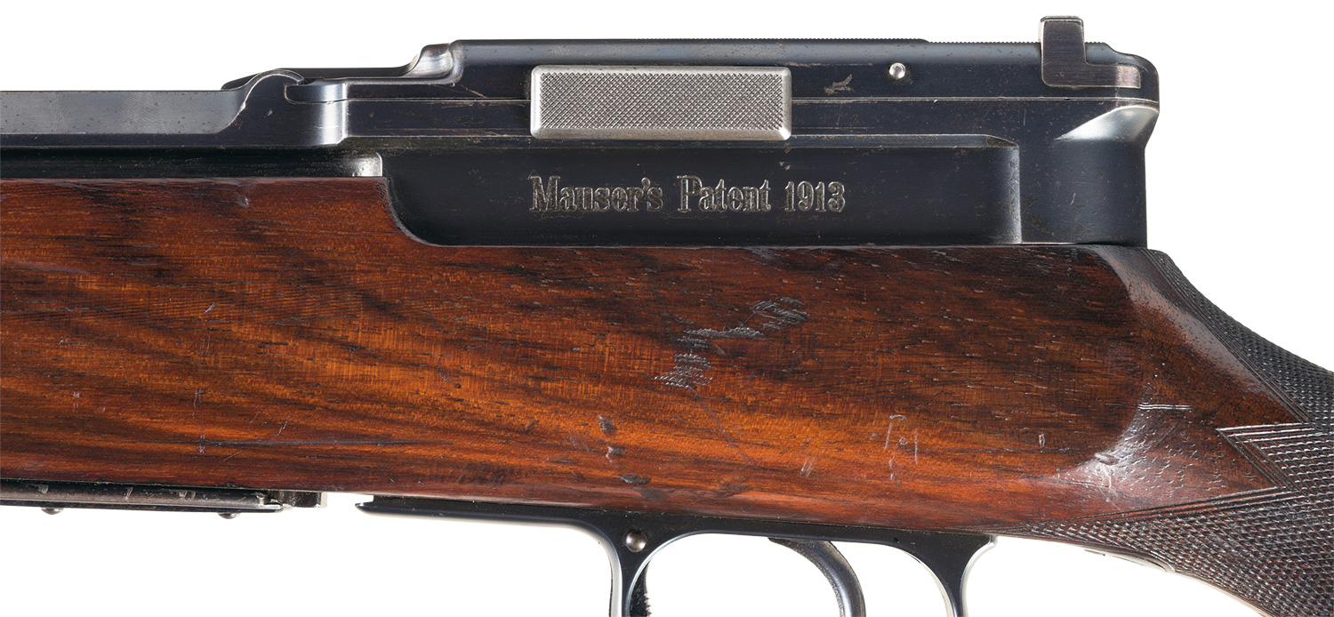 This Paul Mauser design was patented in 1913 and was adopted for use by the German flying corps in 1915 and balloon and zepplin corps in 1916.