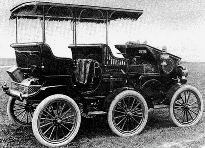 The York Motor Company's first attempt at an automobile was this six wheeled Surrey of 1903.