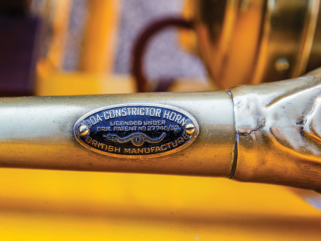 "This Model O has a ""Boa Constrictor"" brass horn."