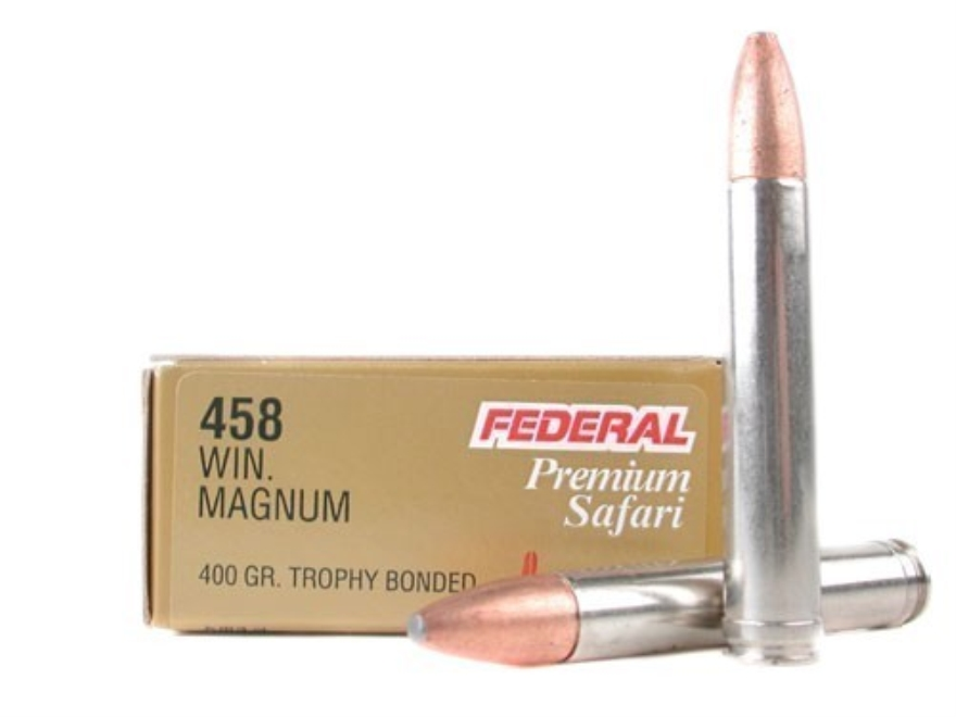 If the shooter does not reload then the choices in .458 Winchester Magnum ammunition are quite limited. (PIcture courtesy midwayusa.com).