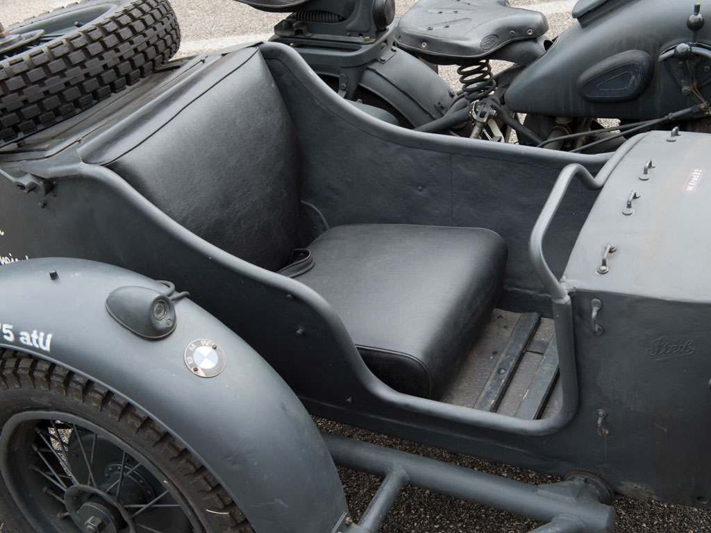 "The BMW R75 featured the ability to share the drive between the motorcycle rear wheel and the side-car wheel. The system incorporated a differential that could be locked if needed creating a ""go anywhere"" motorcycle."