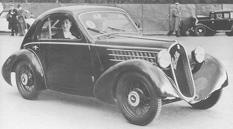 The Aerodinamica coupé body style of the 1934-5 Balila 508S makes a very stylish car of an otherwise quite conventional one. (Picture courtesy zuckerfabrik24.de).