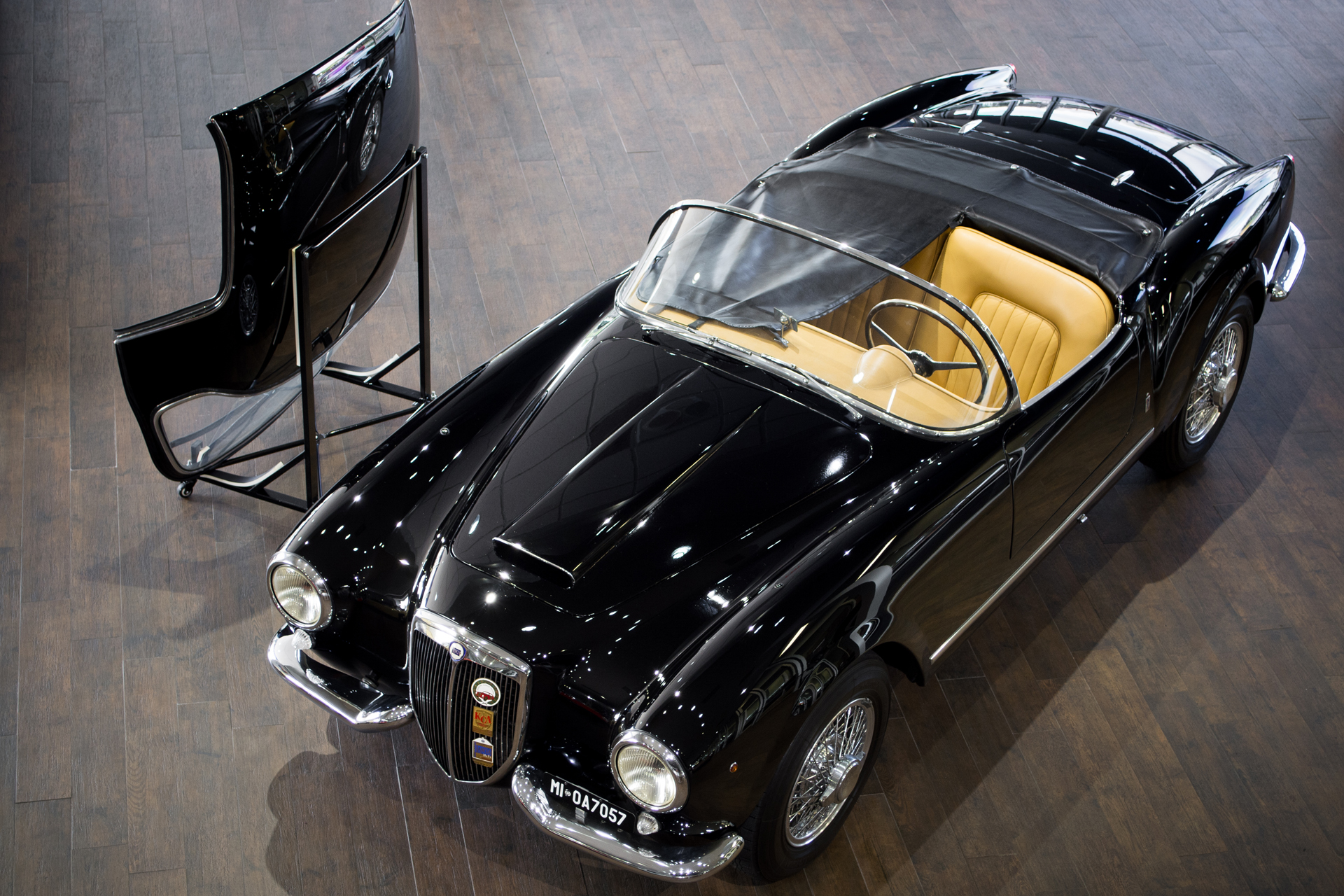 This 1955 B24S Spider America has a removable hard top.