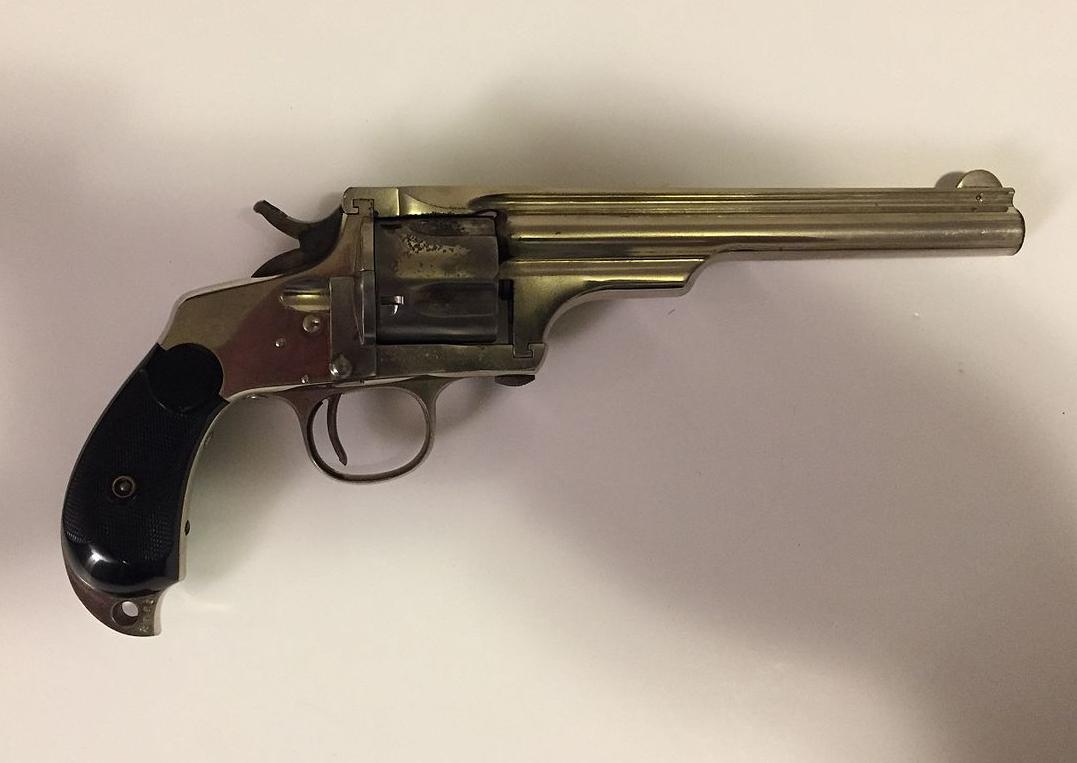 "Merwin Hulbert Pocket Model revolver with 5½"" barrel. A ""pocket"" model for someone with big pockets. (Picture courtesy Wikipedia)."