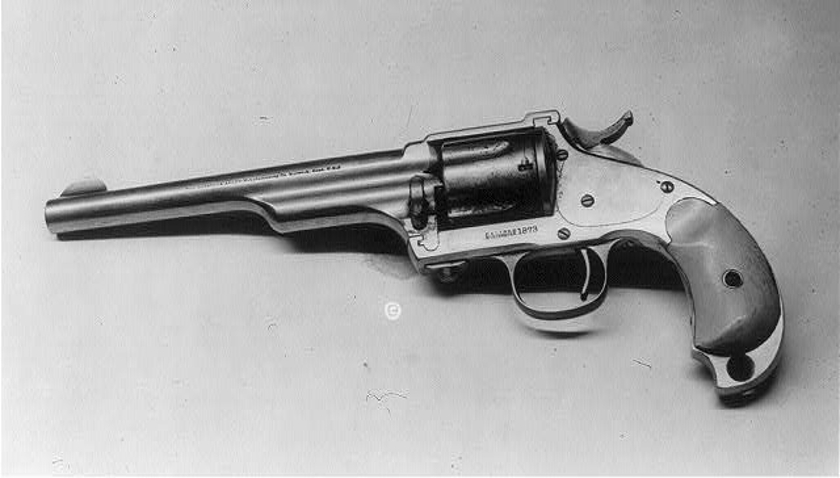 """Jesse James Merwin Hulbert revolver is marked as a Hopkins & Allen. Note the """"skull crusher"""" butt. (Picture courtesy Wikipedia)."""