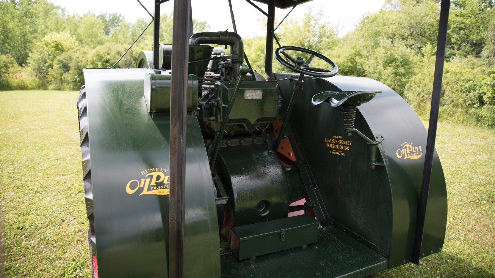 The controls of the Rumely Oil Pull are even more simple than those of a steam traction engine.