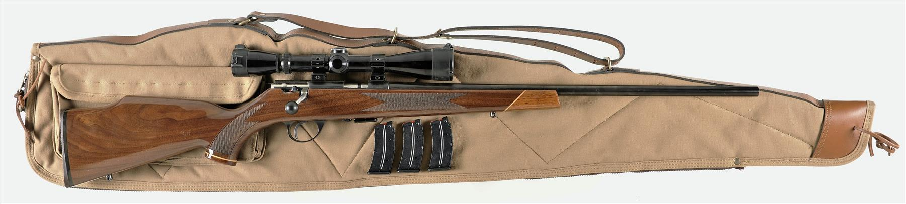 The last rimfire Weatherby was made by J.G. Anschutz and instead of being a semi-automatic it was based on the most accurate rimfire bolt action made. (Picture courtesy Rock Island Auction).