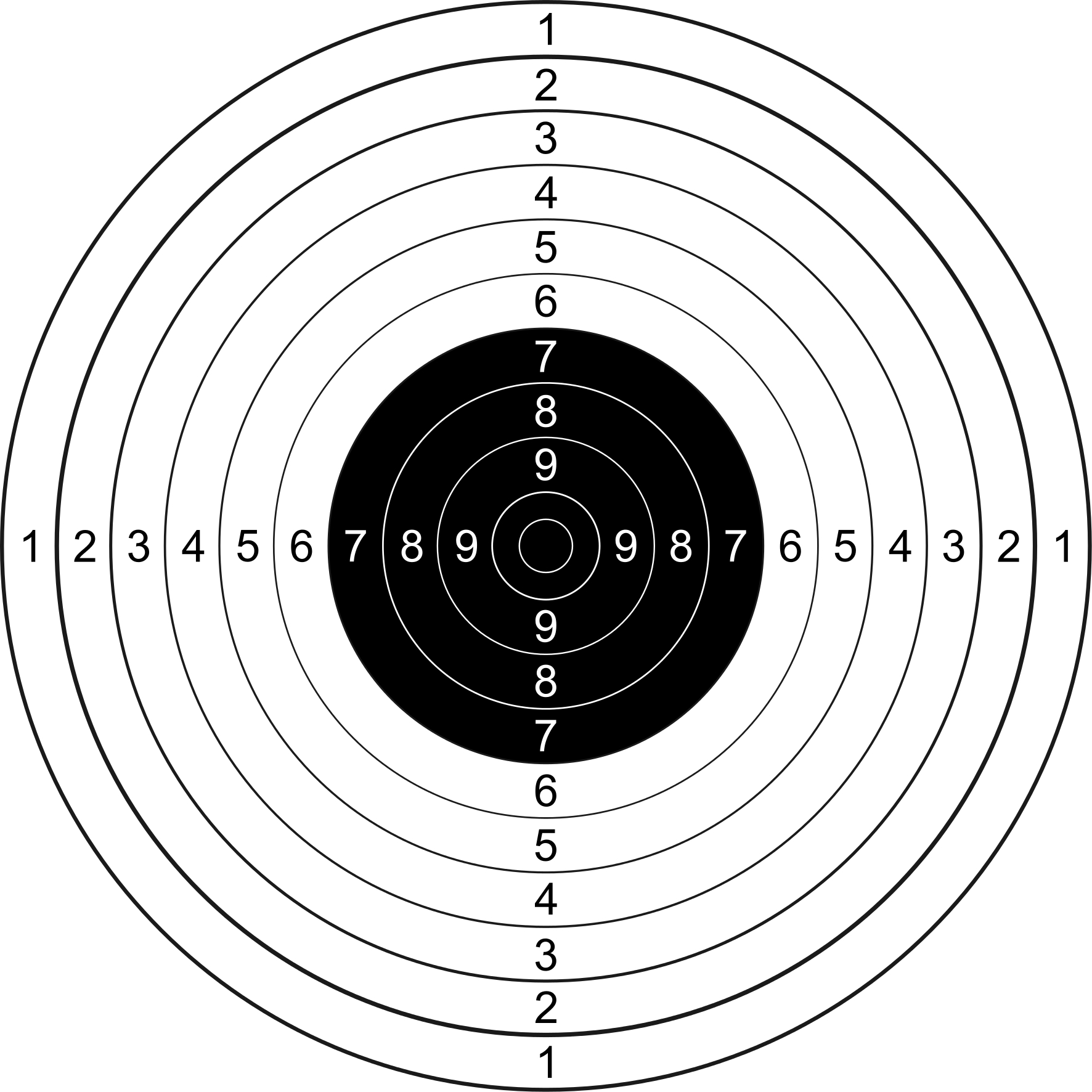 The fifty meter Free Pistol target. (Picture courtesy Wikipedia).