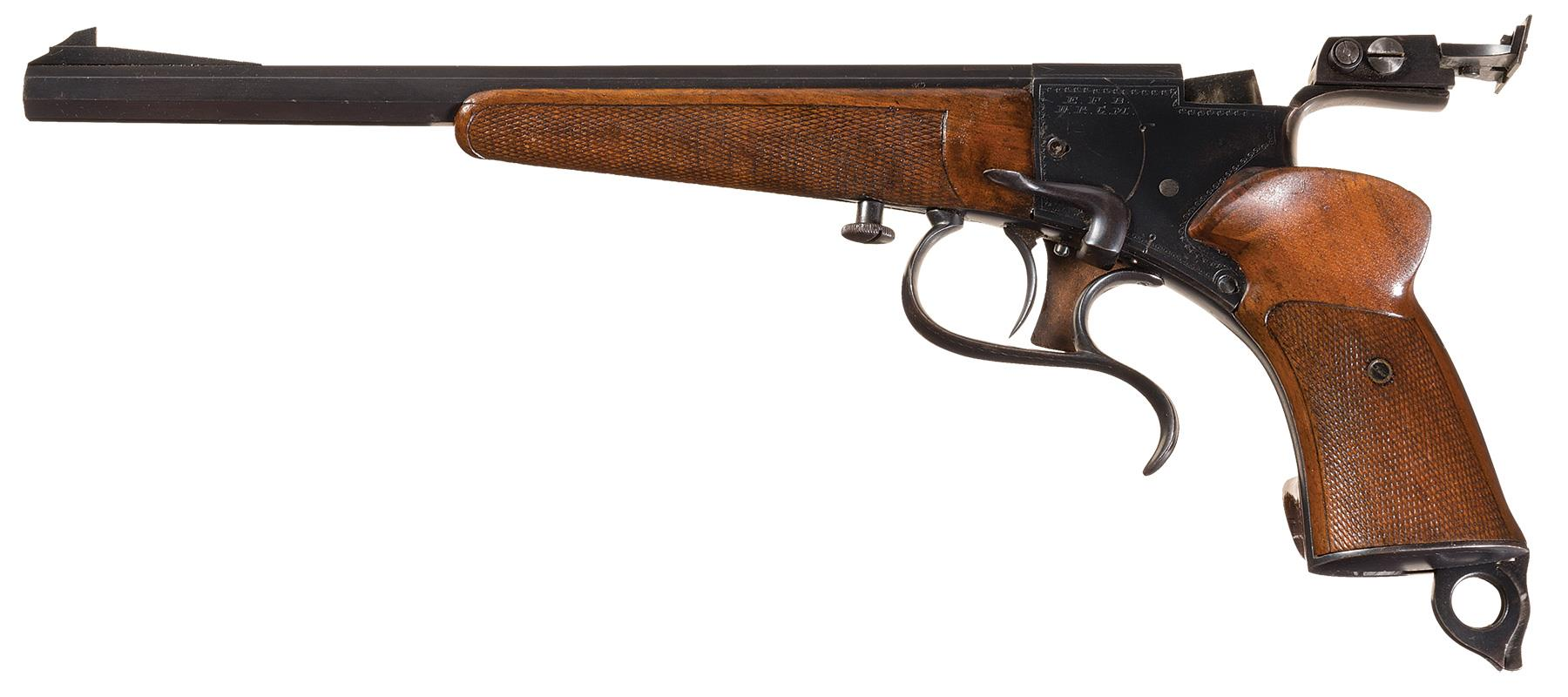 "This Buchel Luna antique free pistol is typical of how free pistols developed. The action is falling block, the lever on the right side of the action ""sets"" the trigger, and the action is opened by the lever under the grip."