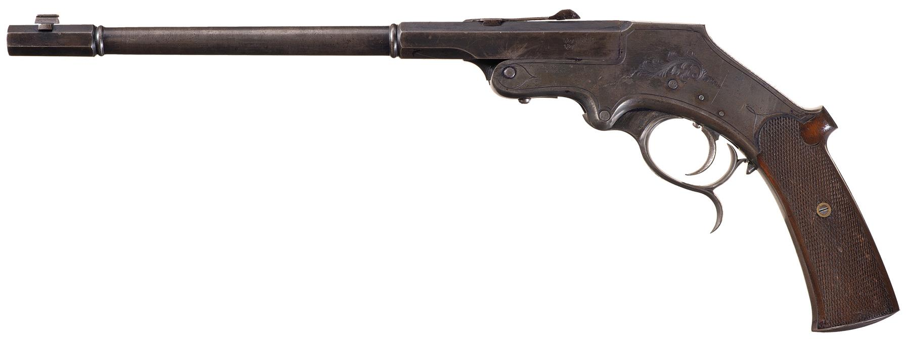 This Langenham Free Pistol is marked J.H. HAMPE, GETTINGEN.
