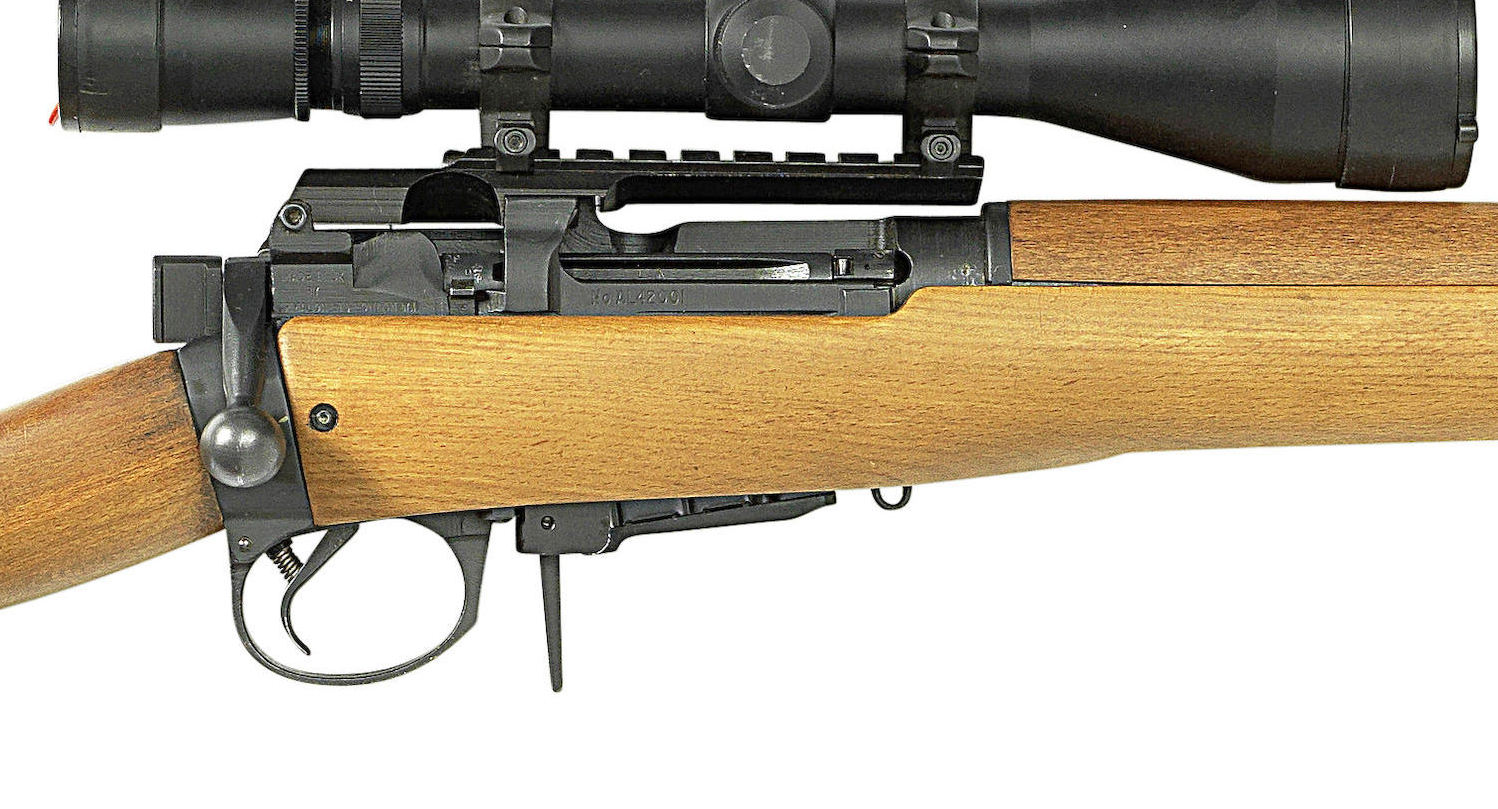 The Armalon AL42 is based on a re-engineered Lee Enfield No.4 action. Note the side safety catch. The mounts are made by Armalon and accept Picatinny rings. (Picture courtesy Bonhams).