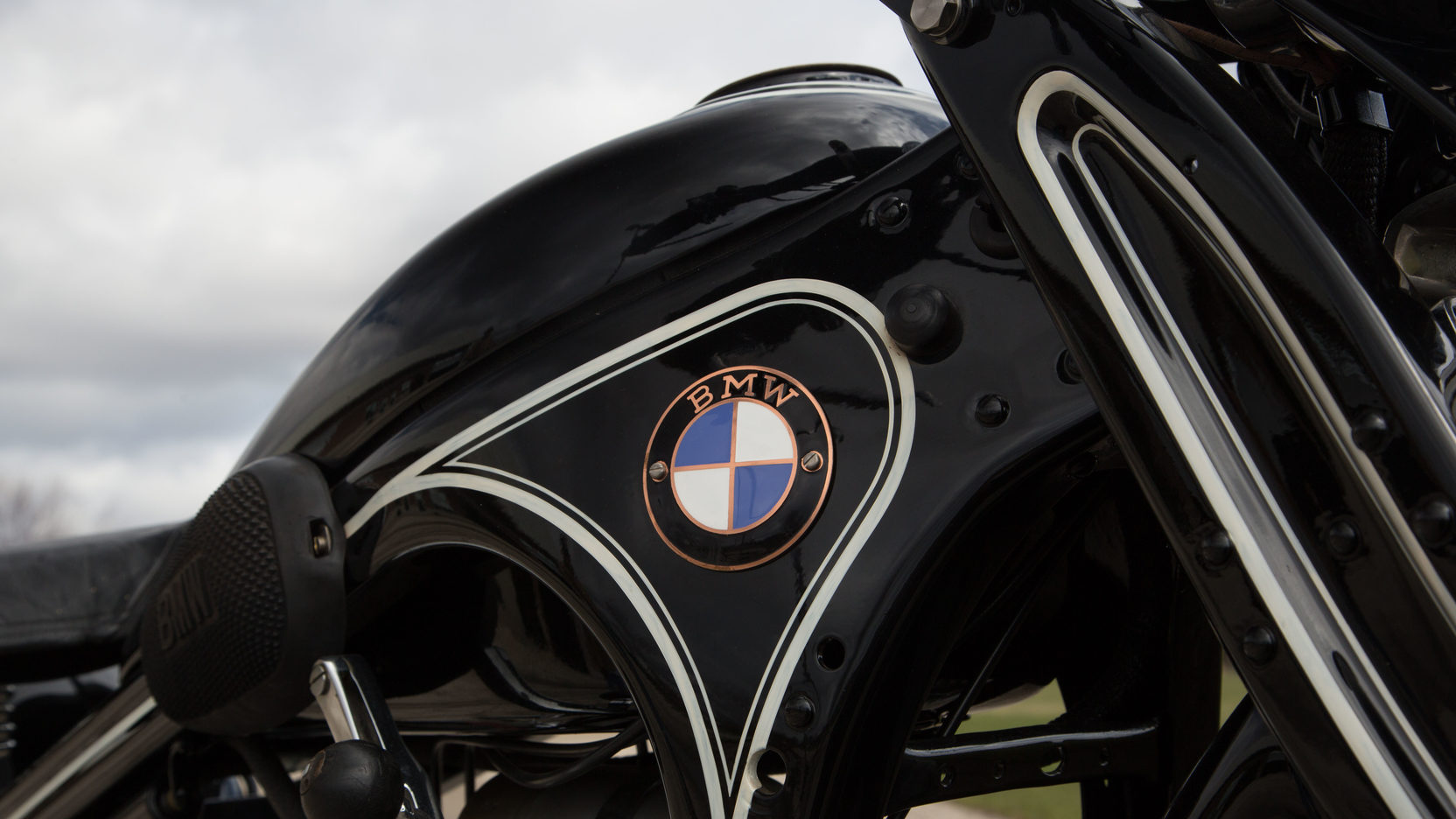 "The pressed steel frame of the BMW R16 is stiff, light and gives the bike a distinctive ""Art Deco"" appearance."