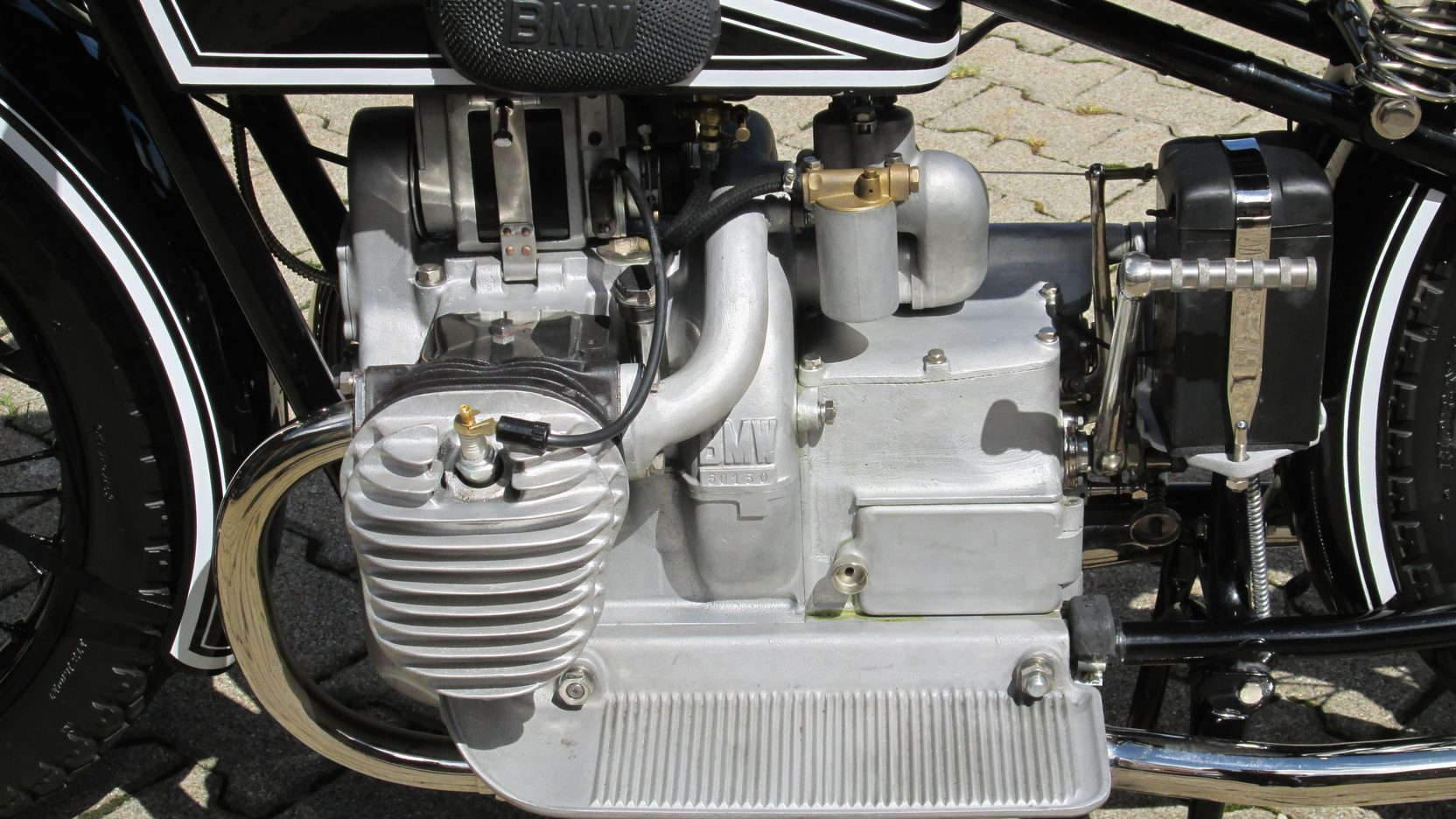The horizontally opposed two cylinder engine would become the iconic BMW motorcycle engine.