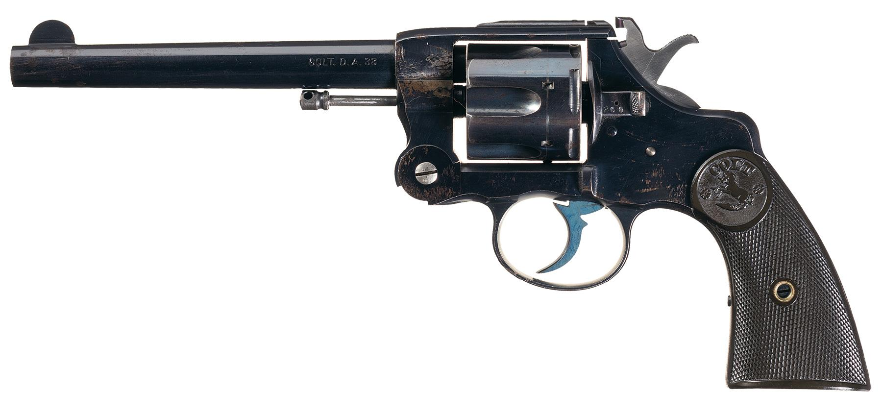This sole example of a top break Colt Army and Navy revolver is opened by the latch on the left side of the frame behind the cylinder.