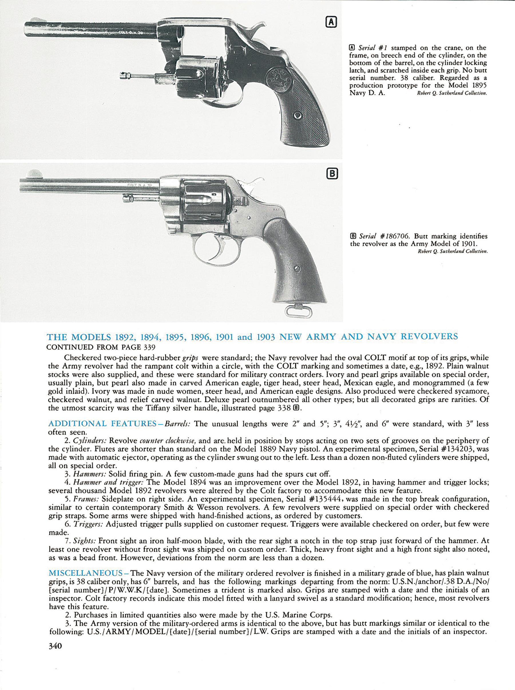 "Page 340 of R.L. Wilson's book with the reference to this revolver under the heading ""Additional Features""."