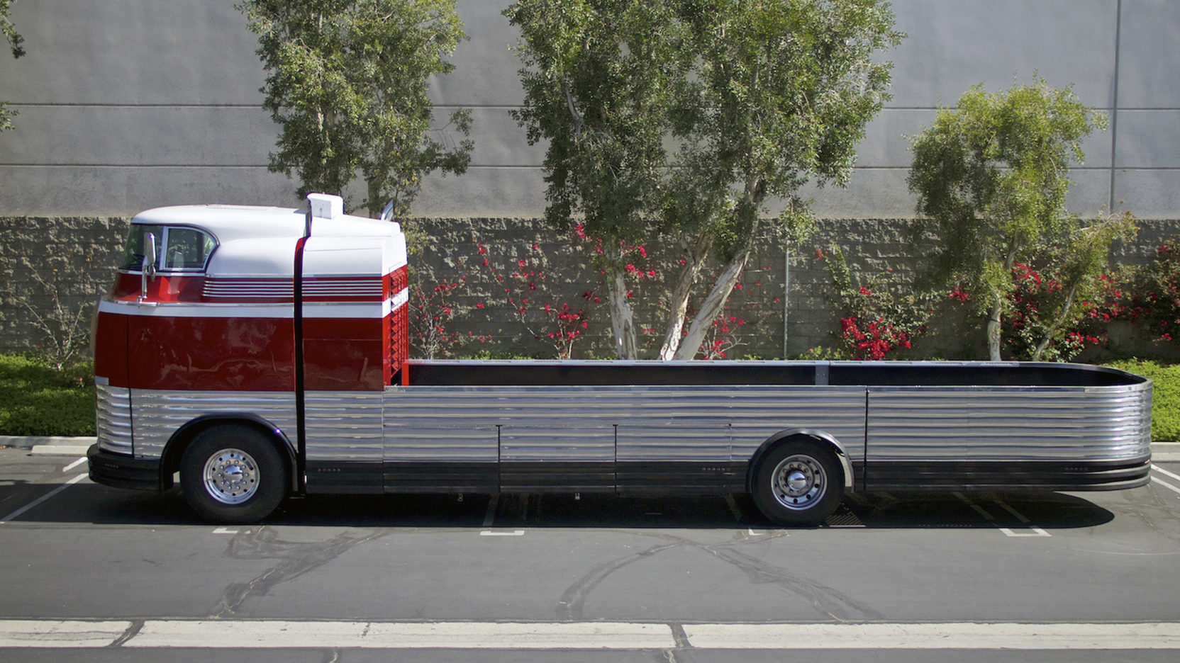 The modified Futurliner number 5 is now a very practical classic vehicle hauler with its flatbed and diesel engine.