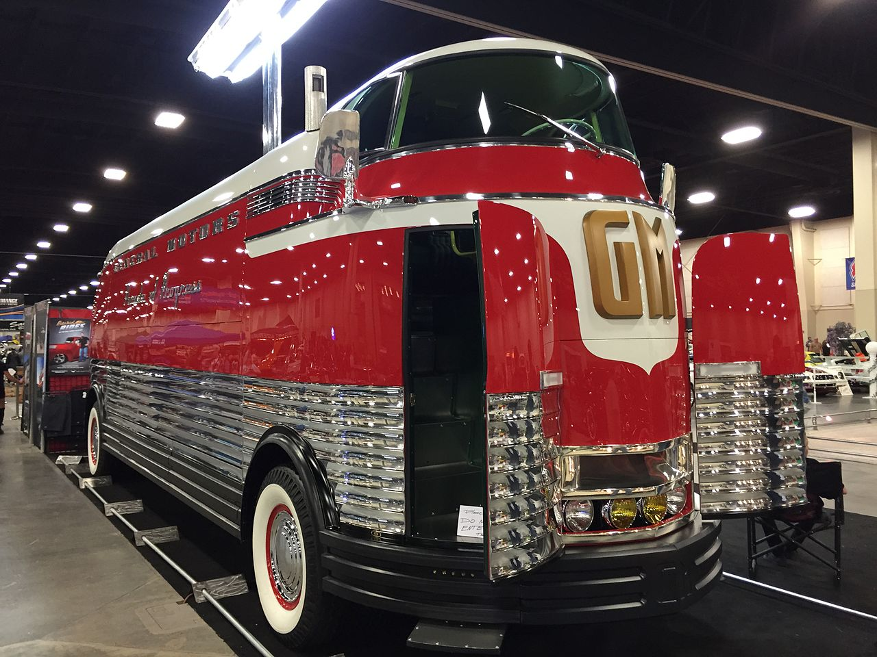 Originally the Futurliners were fully enclosed. This is Futurliner number 3 which is now on display in Salt Lake City, Utah. (Picture courtesy Wikipedia).