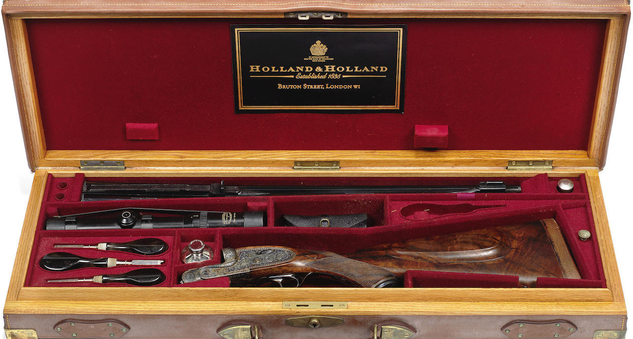 This Holland & Holland double rifle comes in a fitted case. One tool appears to be missing but no doubt a visit to Holland & Holland's shop in London would enable a replacement to be obtained.