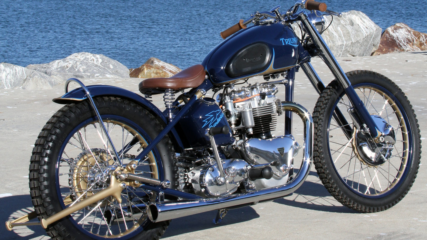 This 1952 matching numbers Triumph Thunderbird features an engine re-built by Mickey Peters.